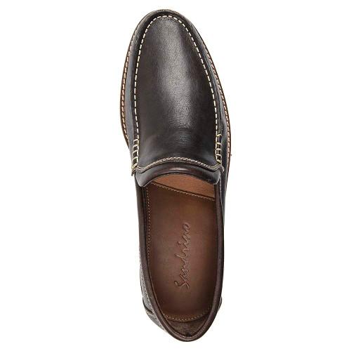 Sandro Moscoloni Neville Brown Leather Venetian Handsewn Men's Moc Toe Slip On Loafer