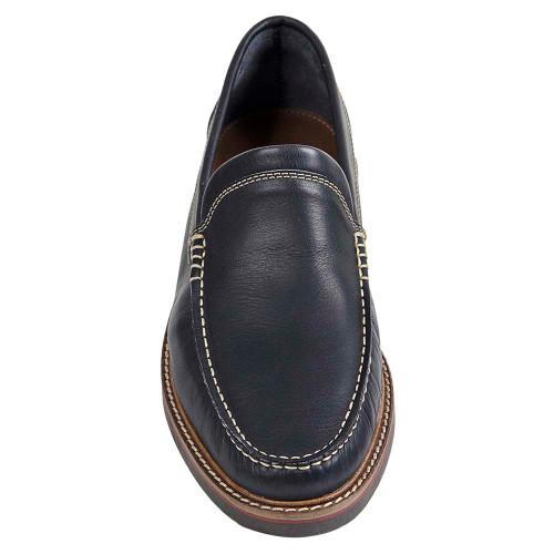 Sandro Moscoloni Neville Navy Leather Venetian Handsewn Men's Moc Toe Slip On Loafer