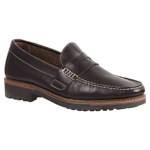 Sandro Moscoloni Roland Brown Leather Handsewn Men's Moc Toe Penny Loafer