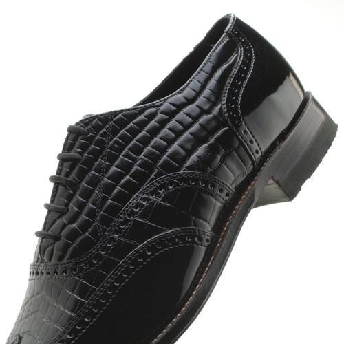 Stacy Adams Dayton Black Patent With Alligator Print Leather Oxford