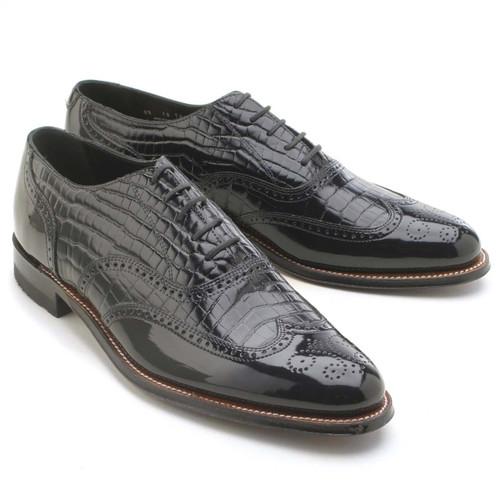 Stacy Adams Dayton Black Patent With Alligator Print Leather Oxford