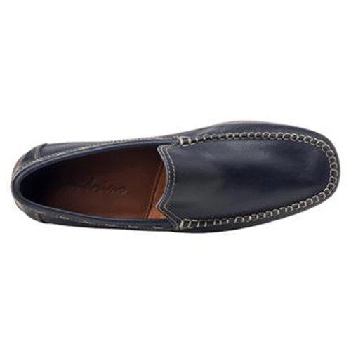 Sandro Moscoloni Sagres Navy Leather Baseball Stitch Men's Moc Toe Loafers