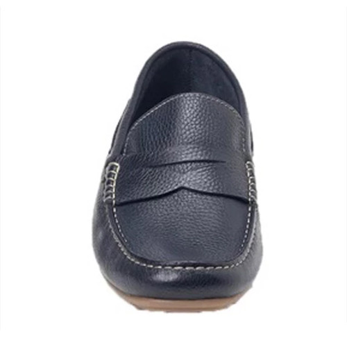 Sandro Moscoloni Viseu Navy Leather Men's Handsewn Moc Toe Penny Loafer