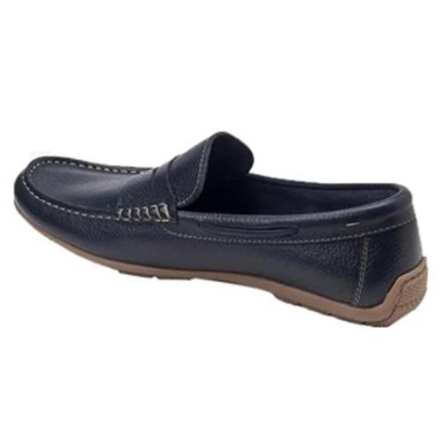 Sandro Moscoloni Viseu Navy Leather Men's Handsewn Moc Toe Penny Loafer