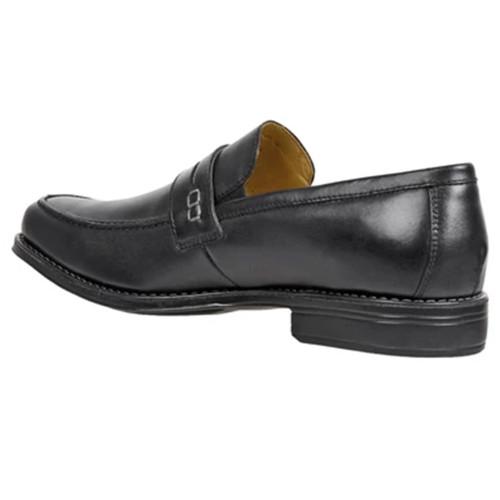 Sandro Moscoloni Basil Black Leather Men's Moc Toe Double Gore Penny Loafer