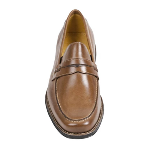 Sandro Moscoloni Basil Tan Leather Men's Moc Toe Double Gore Penny Loafer