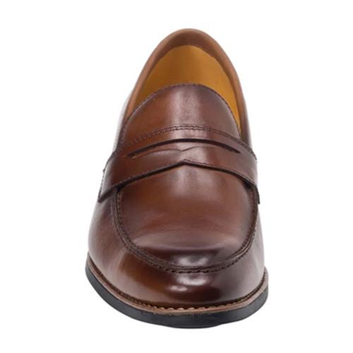 Sandro Moscoloni Mundo Brown Leather Men's Italian Finish Moc Toe Penny Loafer