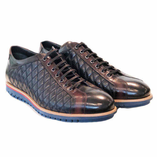 Corrente Navy & Brown Leather Men's Dress Casual