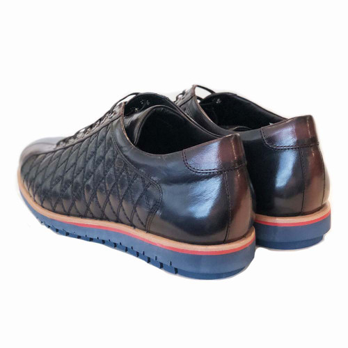 Corrente Navy & Brown Leather Men's Fashion Sneakers