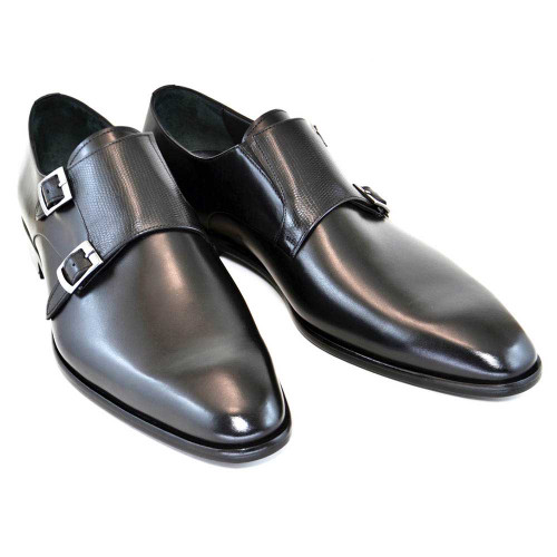 Plain Toe Double Monk Strap Dress Shoes