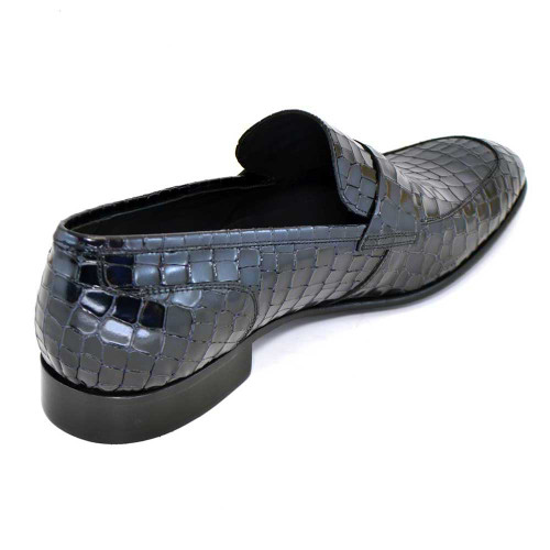 Corrente Black Leather Crocodile Print Men's Slip On Loafer