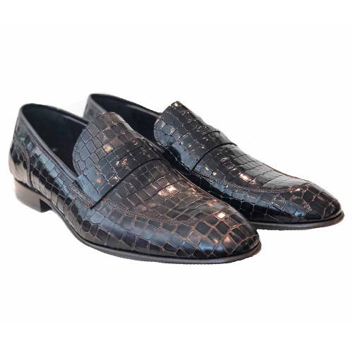 Corrente Brown Leather Crocodile Print Men's Slip On Loafer
