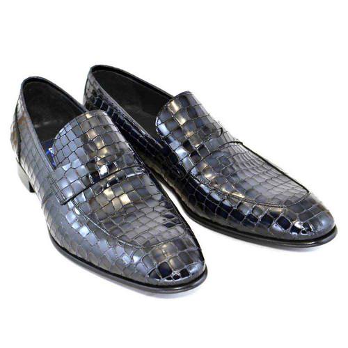 Corrente Navy Leather Crocodile Print Men's Slip On Loafer