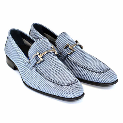 Corrente Black Multi Leather Bit Ornament Men's Slip On Loafer
