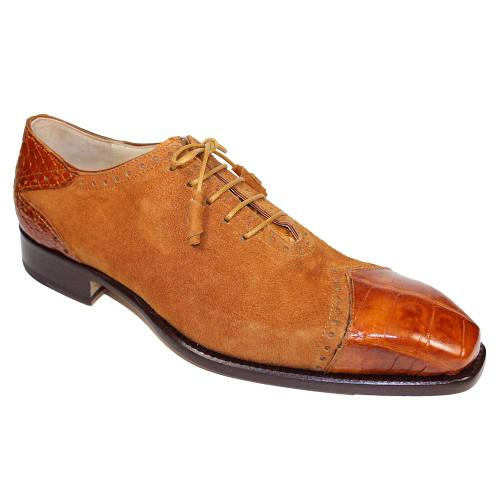 Fennix James Cognac Alligator & Suede Men's Lace Up Shoe