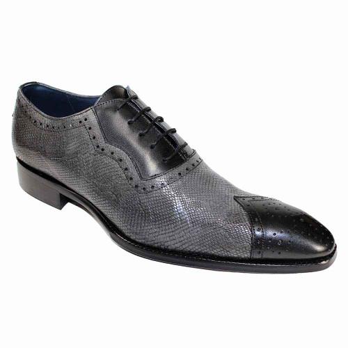 Duca Marino Black-Grey Chisel Toe Python Print Men's Oxfords