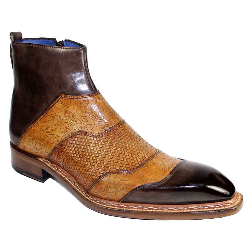 Emilio Franco Lucio Brown Combo Multi-Colored Chisel Toe Zipped Boots