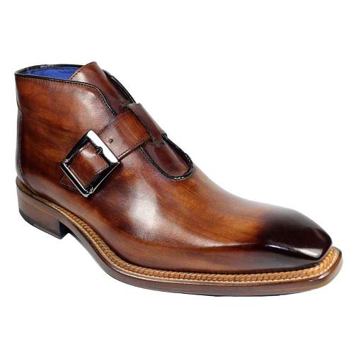 Emilio Franco Milo Brown Chisel Toe Men's Monk Strap Ankle Boots