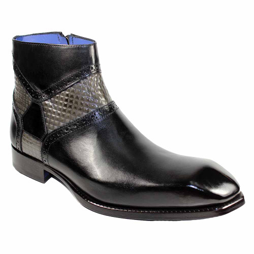 Emilio Franco Remo Black-Grey Chisel Toe Side Zipped Men's Ankle Boots