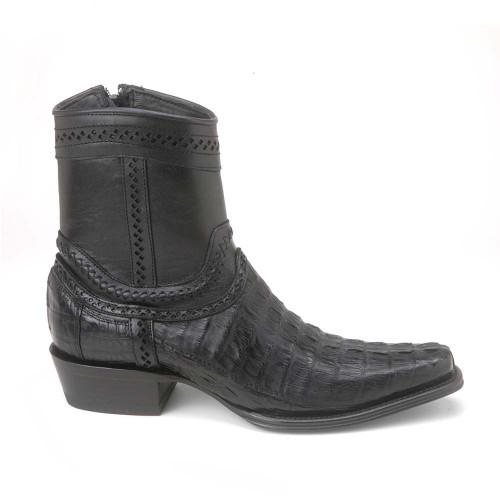 Los Altos Black Caiman Tail Low Shaft European Square Toe Men's Boot
