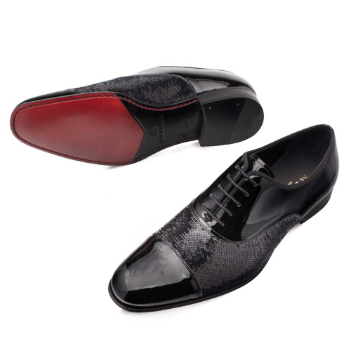 Mezlan Davos Black Patent Leather & Sequin Men's Oxford