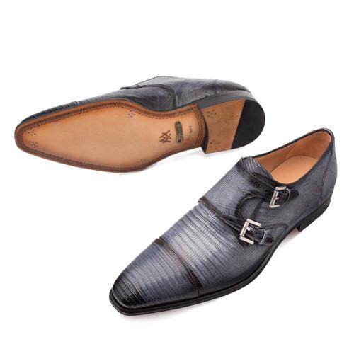 Mezlan Argentum in Grey Cap Toe Dress Double Monk Men's Shoes
