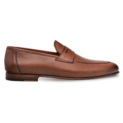 Mezlan Pompie Tan Apron Toe Slip On Penny Men's Shoes