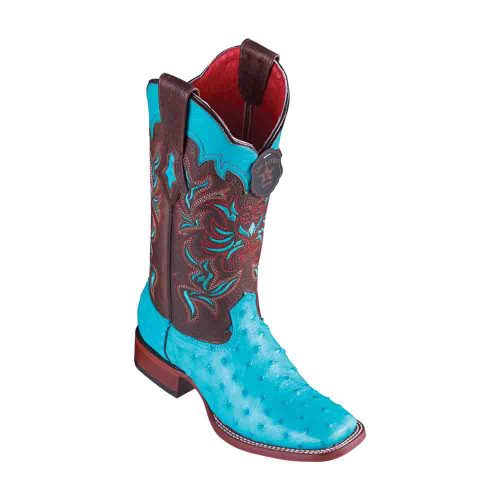 Los Altos Ostrich Turquoise Square Toe Women's Boot