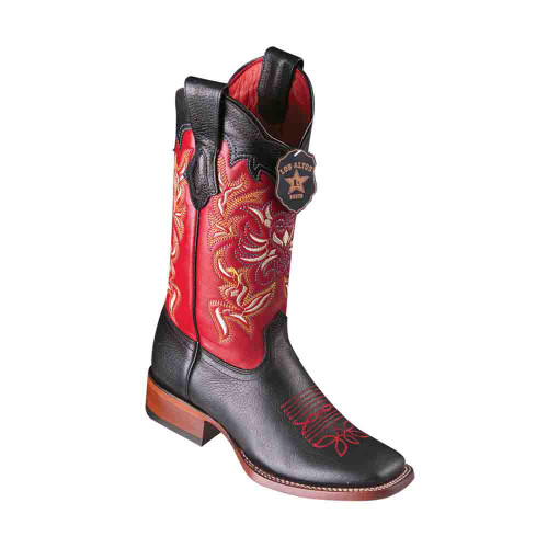 Los Altos Grisly Black & Red Leather Square Toe Women's Boot