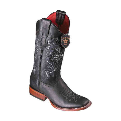 Los Altos Grisly Black Leather Square Toe Women's Boot