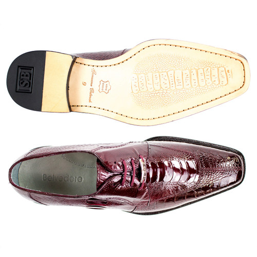 Belvedere Siena Burgundy Genuine Ostrich Men's Lace-Up Shoes