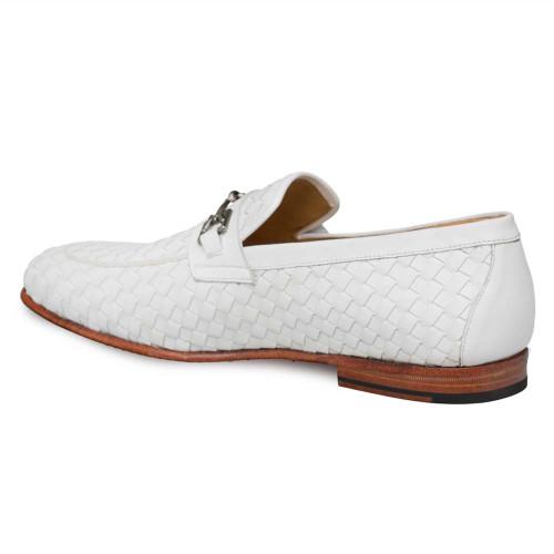 Mezlan Cerros White Calfskin Apron Toe Men's Slip On