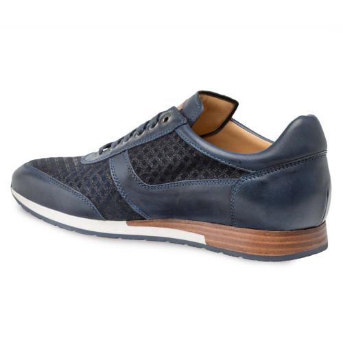 Mezlan Maxim Blue Calfskin & Suede Men's Sneakers