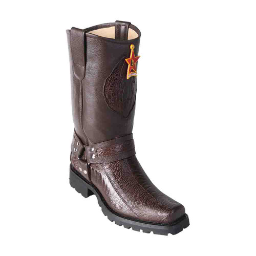 Los Altos Ostrich Leg Brown Men's Biker Boots