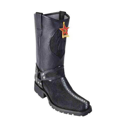 Los Altos Full Rowstone Black Stingray Men's Biker Boots