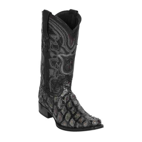 Los Altos Pirarucu Gray & Black European Square Toe Men's Boot