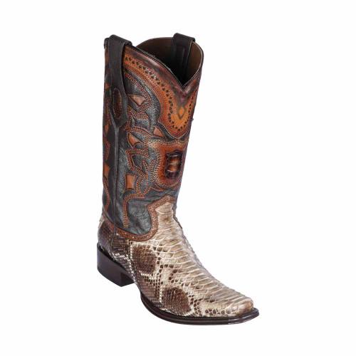 Los Altos Rustic Brown Python European Square Toe Men's Boot