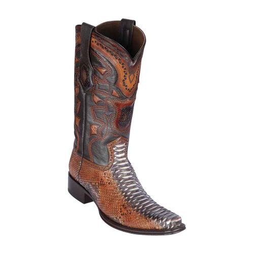 Los Altos Rustic Cognac Python European Square Toe Men's Boot