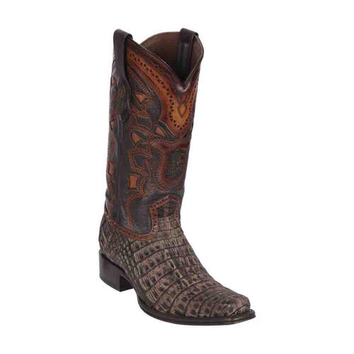 Los Altos Sanded Brown Caiman Belly European Square Toe Men's Boot