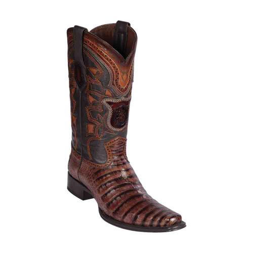 Los Altos Porto Brown Caiman Belly European Square Toe Men's Boot