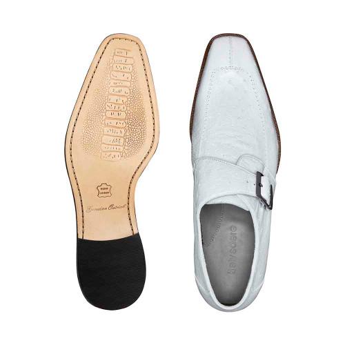 Belvedere Josh White Genuine Ostrich Monk Strap Men's Shoes