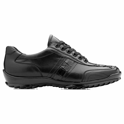 Belvedere Orfeo Black Genuine Caiman & Soft Calf Men's Sneaker