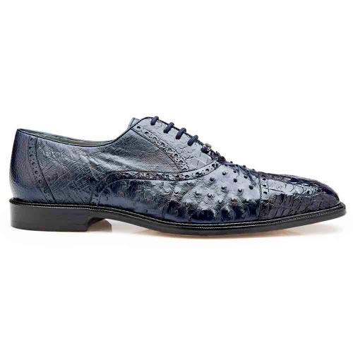 Belvedere Onesto Navy Crocodile & Ostrich Men's Oxford
