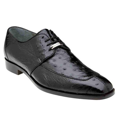 Belvedere Rovigo Black Genuine Ostrich Men's Lace Shoes