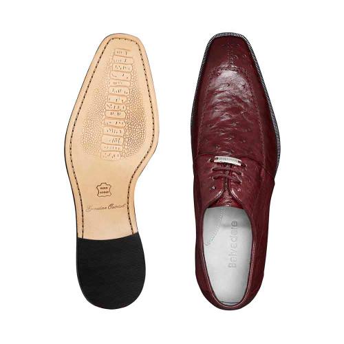 Belvedere Rovigo Burgundy Genuine Ostrich Men's Lace Shoes