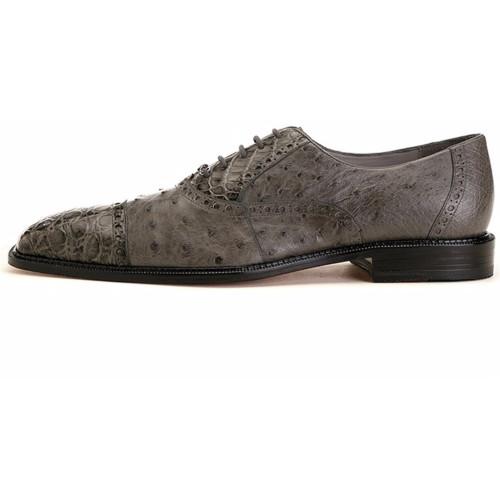 Belvedere Onesto Grey Ostrich & Crocodile Men's Oxford