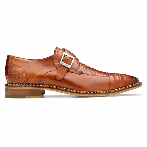 Belvedere Falcon Antique Almond Safari Genuine Caiman Crocodile & Italian Calf Monk Strap Men's Shoe