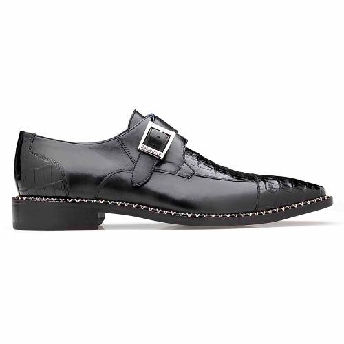 Belvedere Falcon Black Genuine Caiman Crocodile & Italian Calf Monk Strap Men's Shoe
