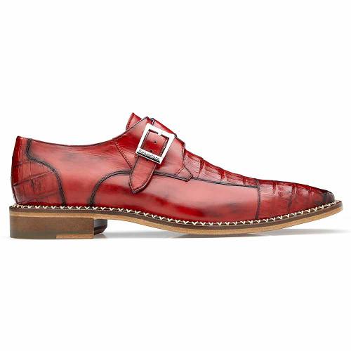Belvedere Falcon Antique Cherry Genuine Caiman Crocodile & Italian Calf Monk Strap Men's Shoe