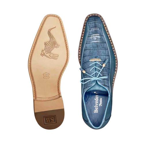 Belvedere Gabriele Antique Blue Jean Genuine Caiman & Italian Calf Men's Oxford